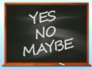 yes contract phones blackboard with yes no maybe in chalk