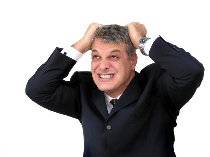 difficult finding mobile phone contract man pulling his hair out