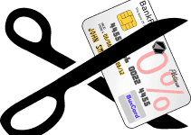 guaranteed mobile phone contract no debit card scissors cutting through credit card
